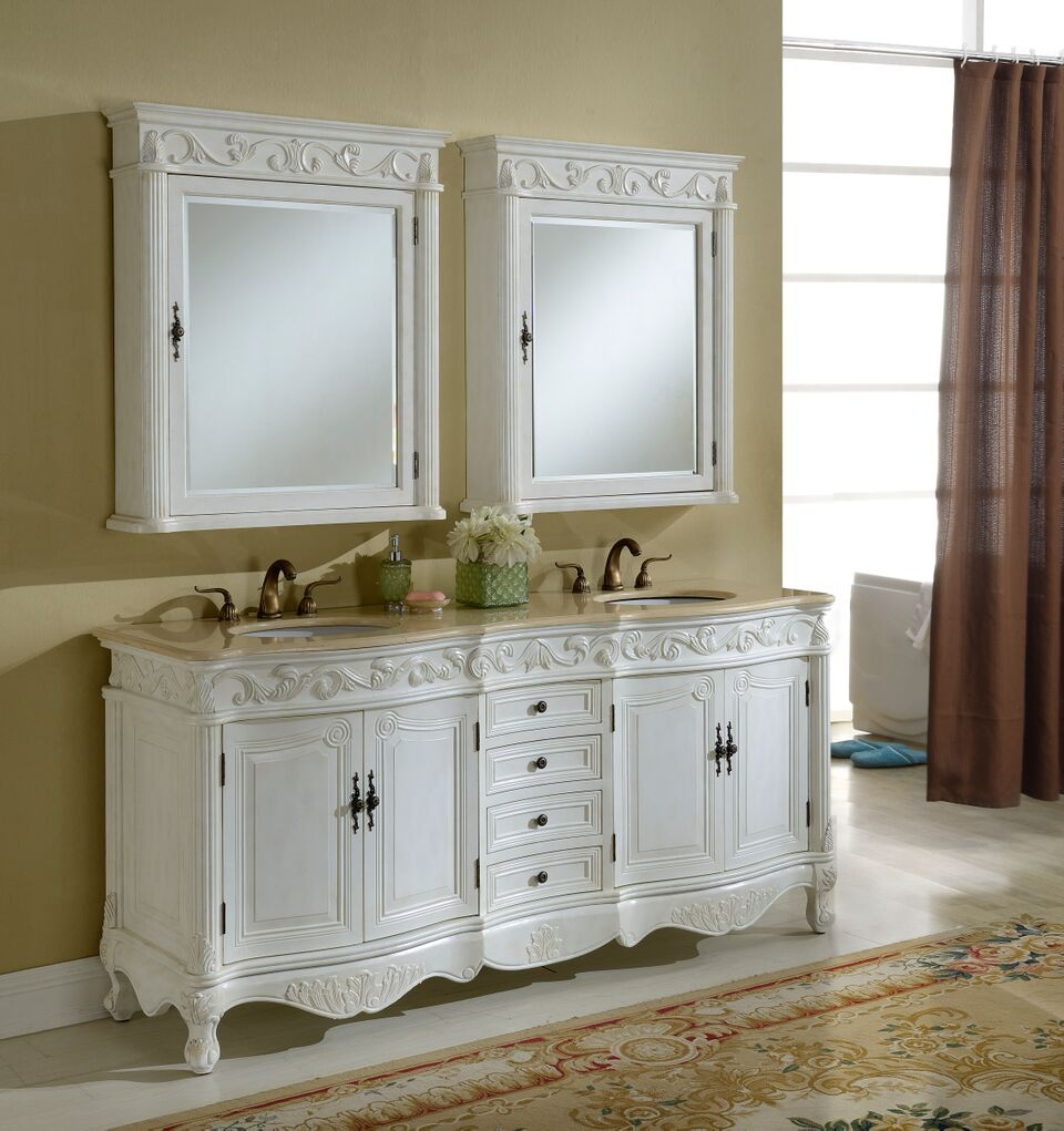 "72"" Antique White with Matching Medicine Cabinet with Cream Marble Top"