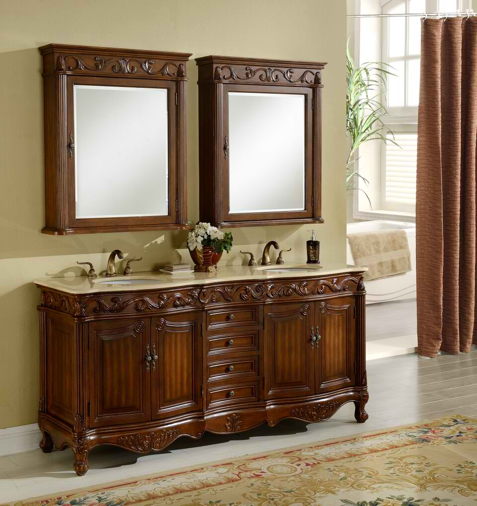 "72"" Deep Chestnut Finish with Matching Medicine Cabinet with Cream Marble Top"