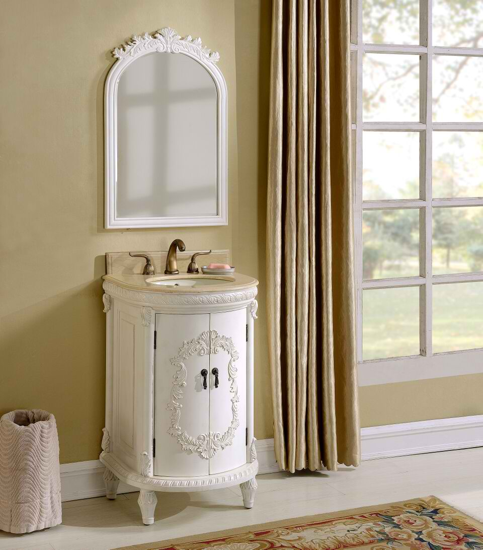 "21"" Antique White with Matching Mirror"