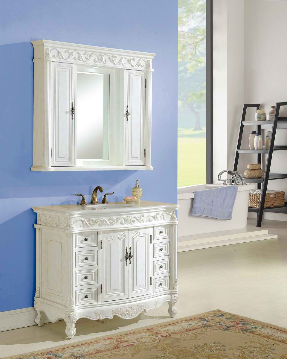 "42"" Antique White with Matching Medicine Cabinet, Imperial White Marble Top"