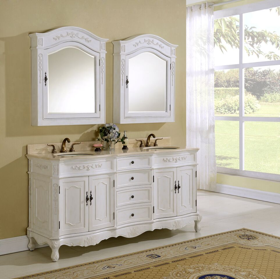 "72"" Antique White Vanity Finish with Mirror, Med Cab, and Linen Cabinet Options"