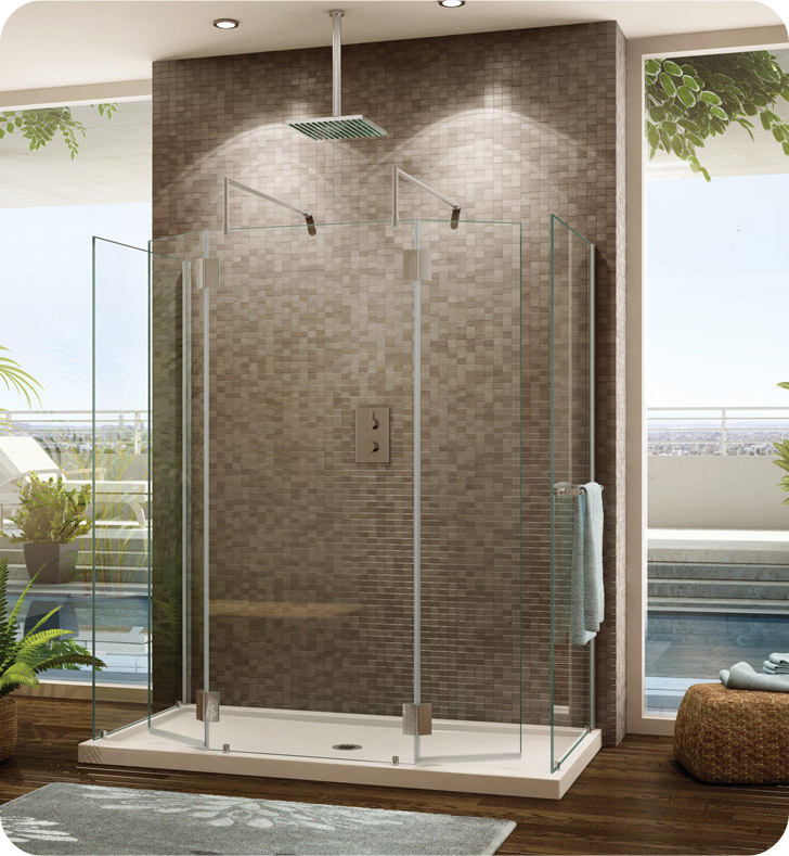 Fleurco Evolution 6' Walk in Square Top Shower Enclosure with 2 Side Glass Panels