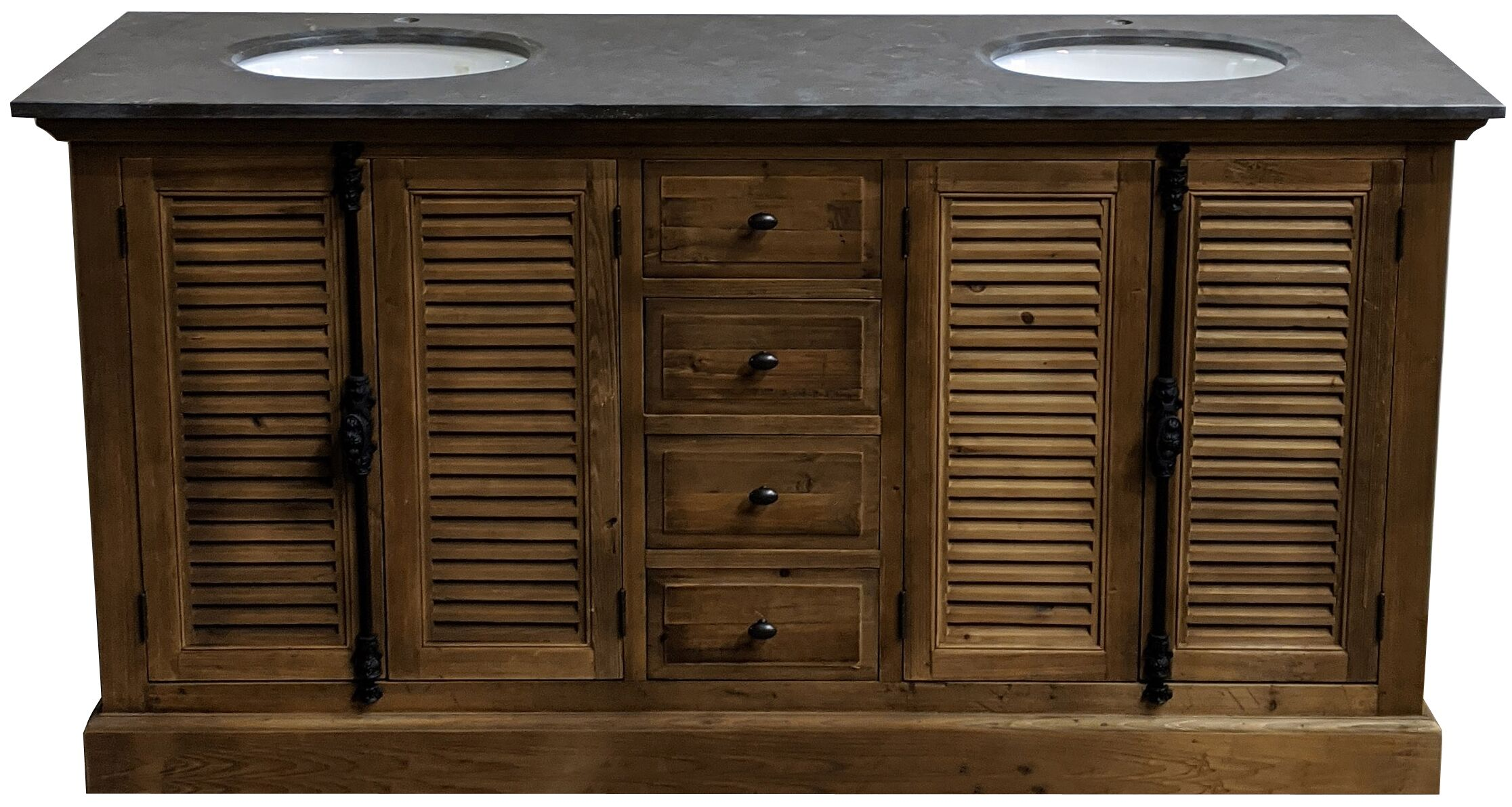 "71"" Reclaimed Pine Double Shutter Vanity with Blue Stone Top Natural Finish"