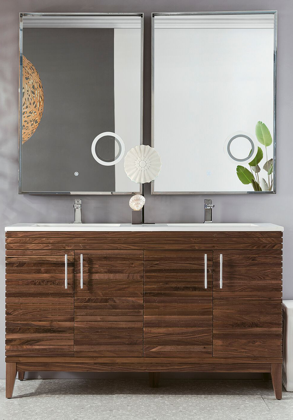 "James Martin Lineage Collection 59"" Double Vanity, Mid Century Walnut Finish"
