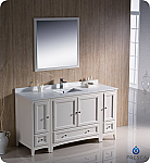 "Oxford 60"" Traditional Bathroom Vanity Antique White Finish"