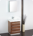 "24"" Walnut Modern Bathroom Vanity with Faucet, Medicine Cabinet and Linen Side Cabinet Option"