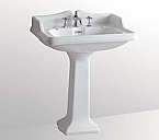 Isabella Collection Traditional Pedestal with an Integrated large Rectangular Bowl, Widespread or Single Hole Faucet Drilling, Backsplash, Dual Soap Ledges, Decorative Trim and Overflow