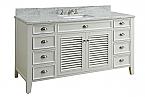 Adelina 60 inch Cottage White Finish Bathroom Vanity, Italian Carrara Marble Top
