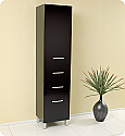 Espresso Bathroom Linen Cabinet 3 Pull Out Drawers