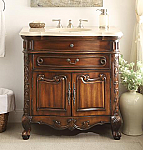 Adelina 36 inch Antique Bathroom Sink Vanity Cream Marble Countertop