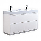 60 inch Double Sink White Finish Free Standing Modern Bathroom Vanity