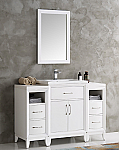 48 inch White Finish Traditional Bathroom Vanity with Mirror
