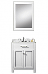 White 24 inch Single Sink Bathroom Vanity Marble Countertop