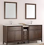 "72"" Antique Coffee Double Sink Traditional Bathroom Vanity in Faucet Option"
