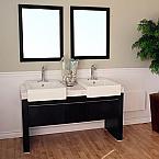 Bella 57 inch Double Sink Bathroom Vanity White Marble Top