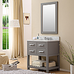 "30"" Gray Finish Single Sink Bathroom Vanity"
