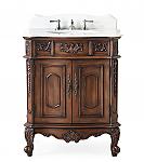 30 inch Adelina Antique Walnut Single Sink Bathroom Vanity with Matching Mirror Option