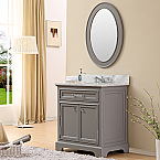 30 inch Traditional Bathroom Vanity Gray Finish
