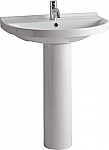 Isabella Collection Tubular Pedestal Sink with Large U-Shaped Basin, Chrome Overflow with Faucet Drilling Option