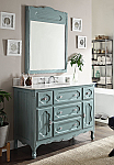 48 inch Adelina Antique Cottage Bathroom Vanity Antique Blue Finish White Marble Top