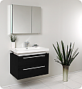 "32"" Black Modern Bathroom Vanity with Faucet, Medicine Cabinet and Linen Side Cabinet Option"