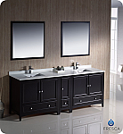 "84"" Espresso Traditional Double Sink Bathroom Vanity with Top, Sink, Faucet and Linen Cabinet Option"