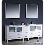 "84"" White Modern Double Sink Bathroom Vanity"