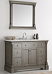 49 inch Traditional Coffee Bathroom Vanity with Mirror and Carrera Marble Countertop