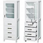 Saranda 71 inch Linen Bathroom Cabinet White Finish