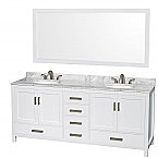 "Sheffield 80"" Double Bathroom Vanity in White with Countertop, Undermount Sinks, and Mirror Options"