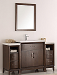 "54"" Antique Coffee Traditional Bathroom Vanity in Faucet Option"
