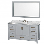 "Sheffield 60"" Single Bathroom Vanity in Gray with Countertop, Undermount Sink, and Mirror Options"
