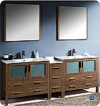 "Fresca Torino 84"" Walnut Modern Double Sink Bathroom Vanity"