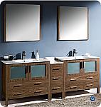 "84"" Walnut Modern Double Sink Bathroom Vanity"