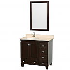 36 inch Espresso Bathroom Vanity Ivory or White Marble Top