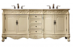 "72"" Antique Ivory Finish with Imperial White Marble Top and Matching Medicine Cabinet"