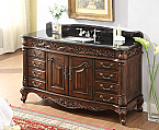 "Adelina 60"" Old Timer Classic all wood Baltic Brown Granite Top Bathroom Sink Vanity in Medium Brown Finish"