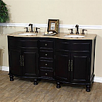The Bella Collection 62 inch Double Sink Bathroom Vanity Dark Mahogany Travertine