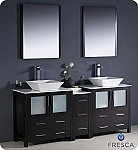 "72"" Modern Double Sink Bathroom Vanity Vessel Sinks with Color, Faucet and Linen Side Cabinet Option"