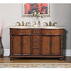 Accord Antique 60 inch Rich Cherry Double Sink Bathroom Vanity Roman Vein-Cut Top