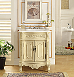 27 inch Adelina Beige Finish Antique Bathroom Vanity