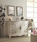 48 inch Adelina Antique White Bathroom Vanity White Marble Top