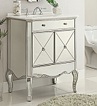 30 inch Adelina Mirrored Silver Bathroom Vanity Marble Top