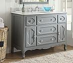 Adelina 48 inch Antique Cottage Bathroom Vanity Grey Finish White Marble Top