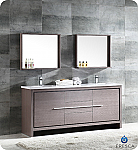 "72"" Modern Double Sink Bathroom Vanity Gray Oak Finish"