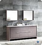 """Allier 72"""" Modern Double Sink Bathroom Vanity Gray Oak Finish"""