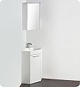 "18"" White Modern Corner Bathroom Vanity with Medicine Cabinet, Faucet and Linen Side Cabinet Option"
