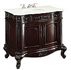 36 inch Adelina Antique Bathroom Vanity Dark Cherry Finish White Marble Top