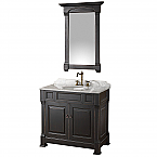 "36"" Single Bathroom Vanity in Black, Undermount Oval Sink, and 28"" Mirror with Countertop Options"