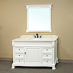 Bella 60 inch White Bathroom Vanity Cream Marble Top